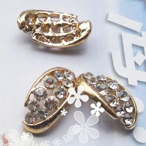 Diamante embilishment - flat back, Zinc alloy, Gold colour, 21mm x 11mm x 2mm, 1 piece, [LJP390]